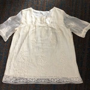 Sundance catalog bone embroidered blouse NWT